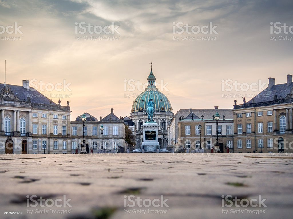 The square of Amalienborg Royal Palace . Copenhagen, Denmark, dawn stock photo