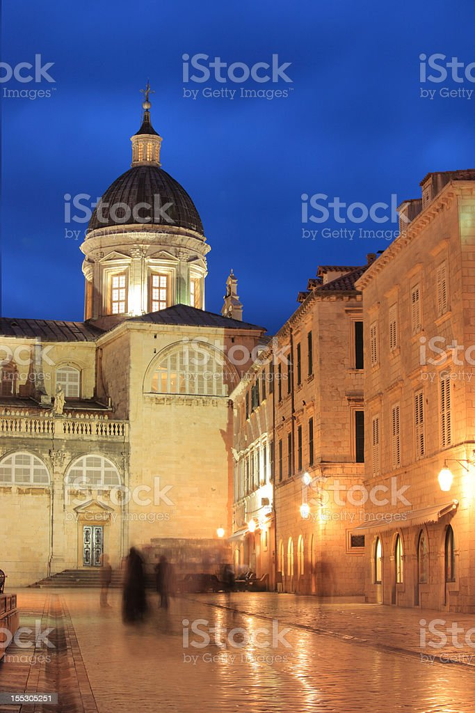 The square of Dubrovnik at night royalty-free stock photo