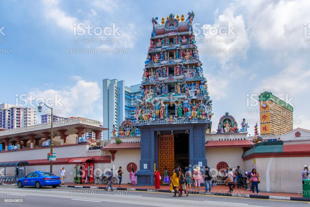 SINGAPORE - JUNE 26, 2015: The Sri Veerama Kaliamman Temple in ethnic district Little India in Singapore. Little India is commonly known as Tekka in the local Tamil community. stock photo