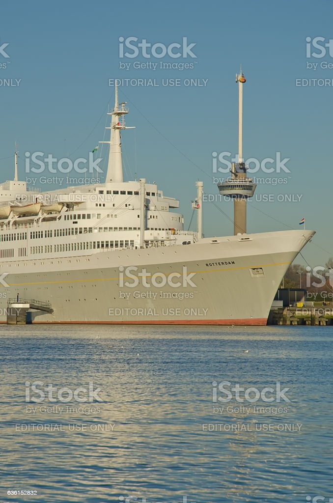 The SS Rotterdam and euromast stock photo