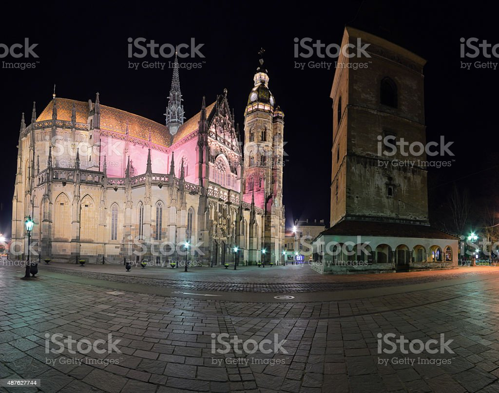 The St. Elisabeth Cathedral Panorama stock photo