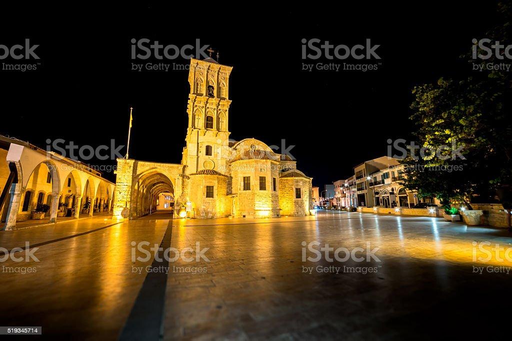 The St Lazarus church at night. Larnaca, Cyprus stock photo