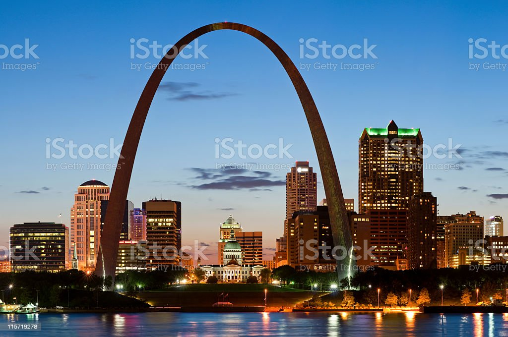 The St. Louis Arc with the view of the capitol stock photo