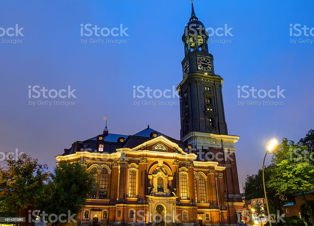The St. Michaelis church at night stock photo
