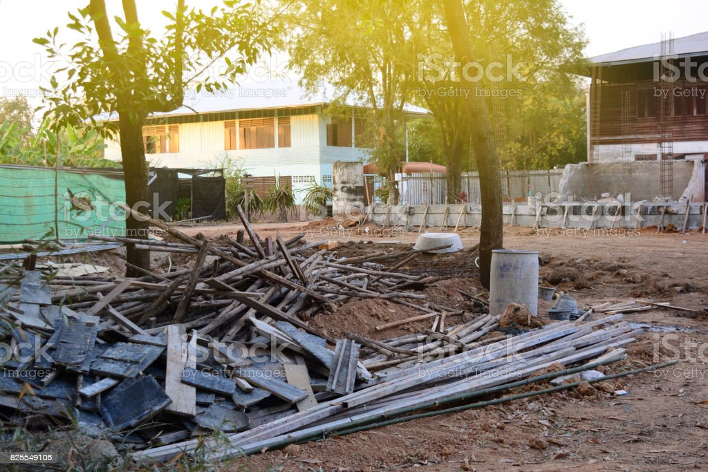 the stack of woods,metals and some tool  in construction site stock photo