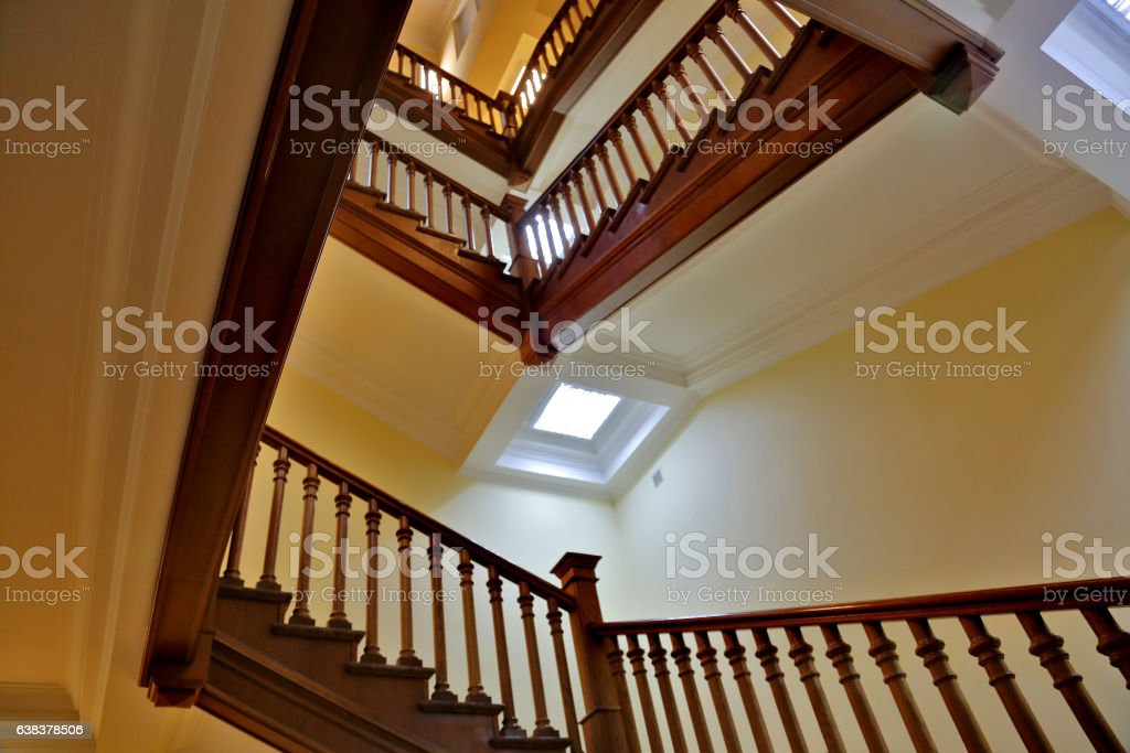 The stairs up in the house stock photo