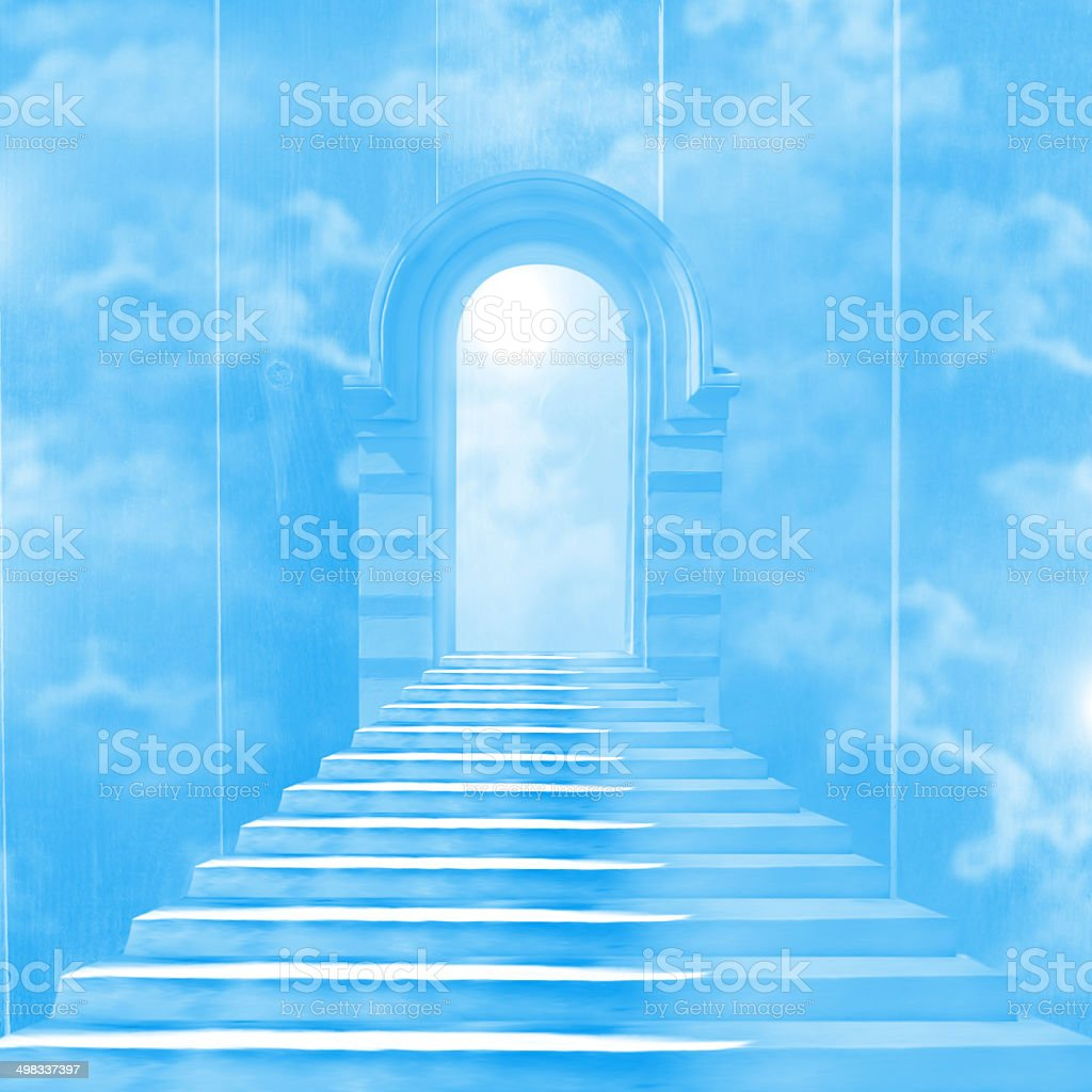 The stairway to heaven leading to God vector art illustration