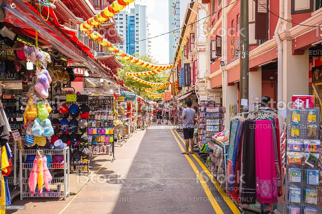 The Stall in China Town, Singapore stock photo