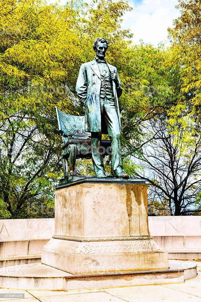 The Standing Lincoln, bronze statue in Chicago stock photo
