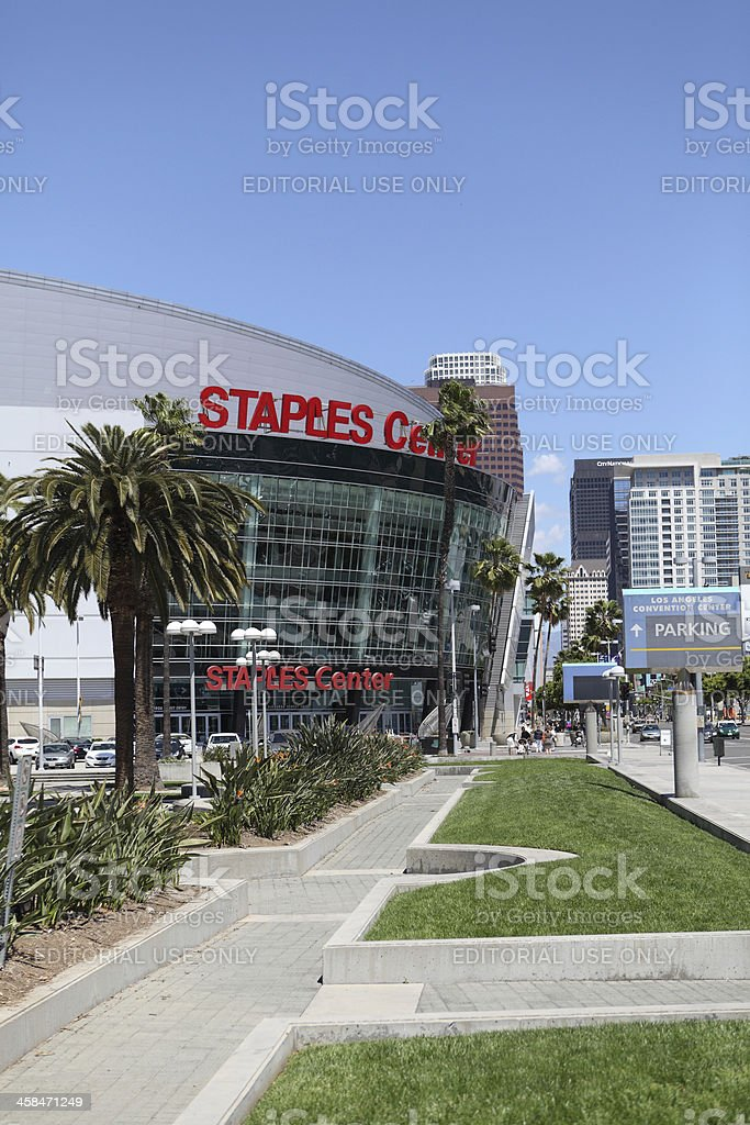 The Staples Center in Downtown Los Angeles royalty-free stock photo