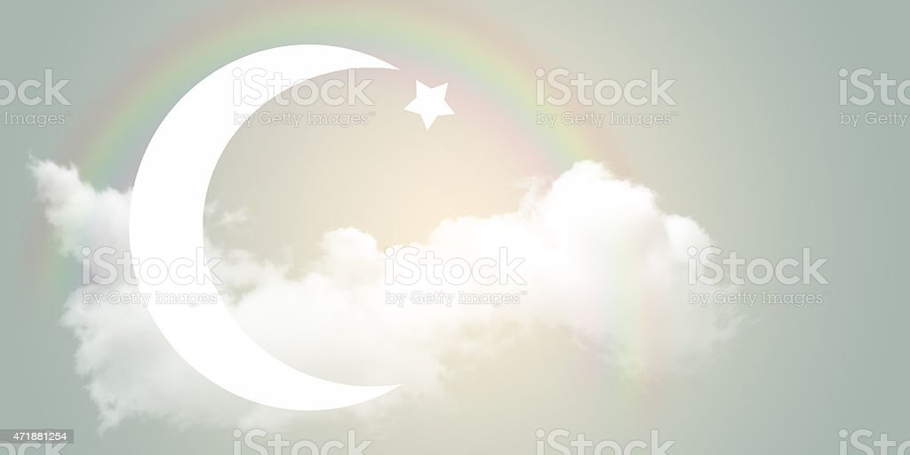 The star and Crescent in the sky. stock photo