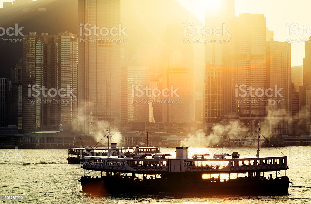 The Star Ferry's Harbour over Victoria Harbour, Hong Kong, China stock photo