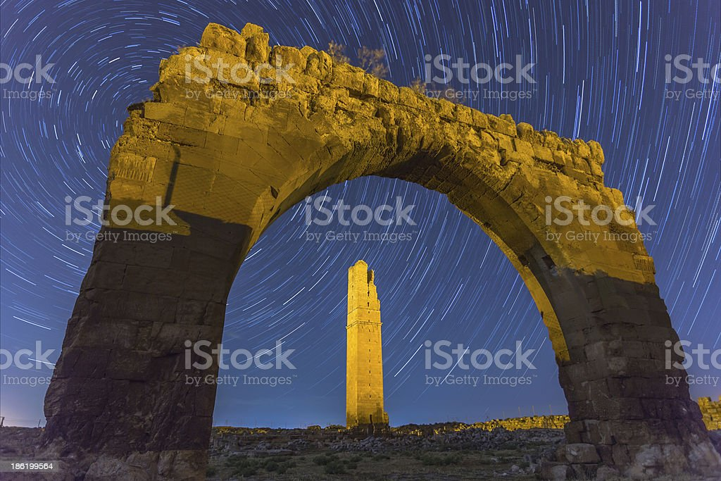 The star trail at ruin of Harran , Sanliurfa , Turkey stock photo