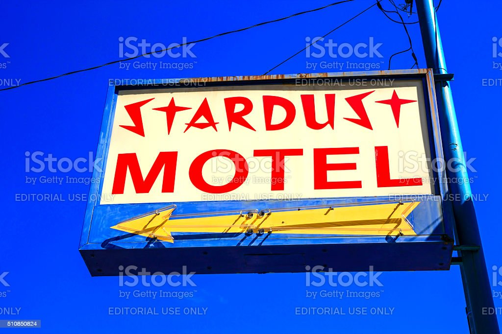 The Stardust Motel sign in Wallace Idaho stock photo