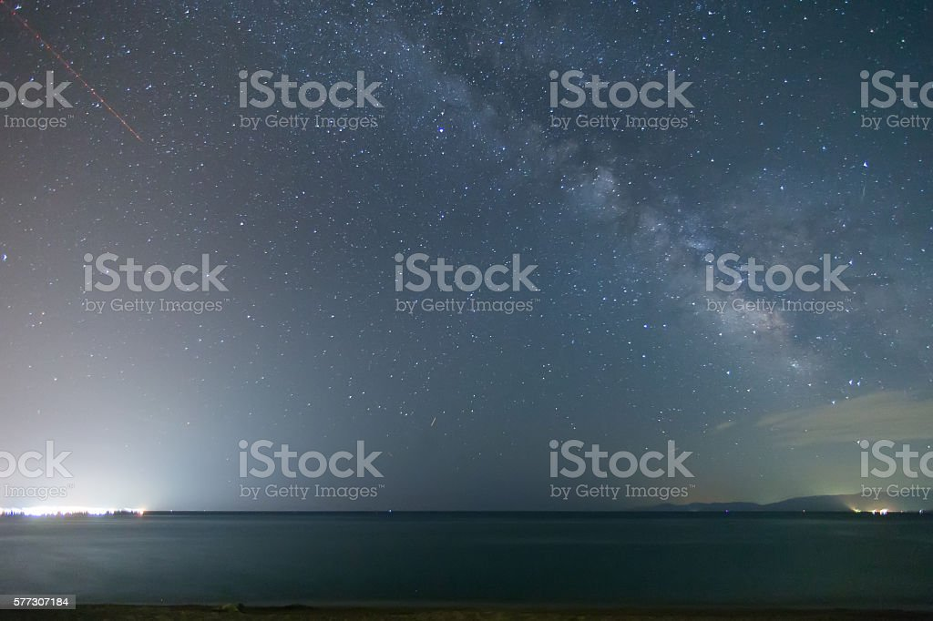 The starry sky and the Milky Way stock photo