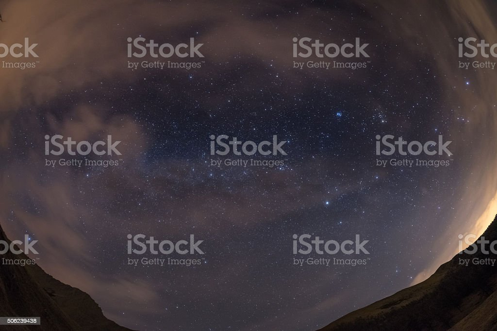 The starry sky from the Alps, viewed by fisheye lens stock photo