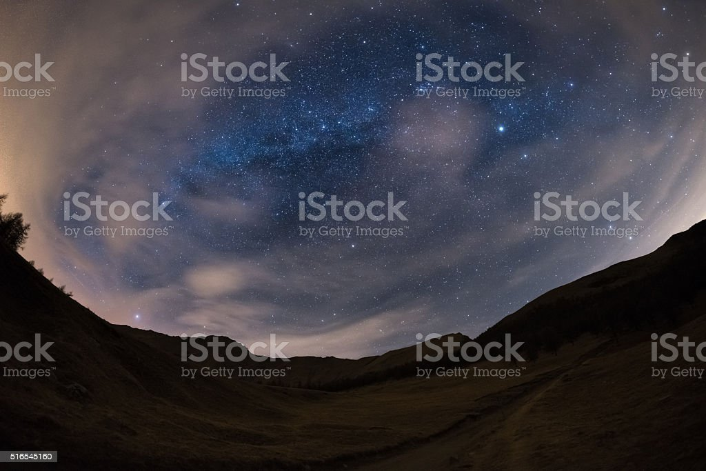 The starry sky on the Alps, ultra wide fisheye view stock photo