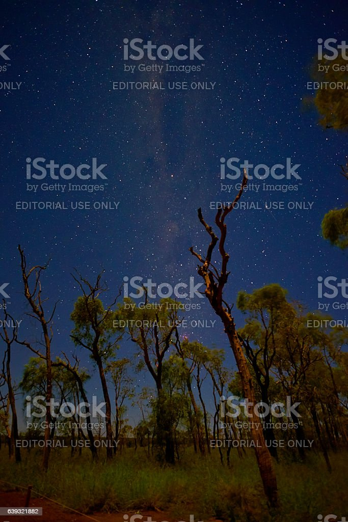 The Stars Over An Uluru Landscape stock photo