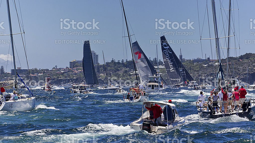 The start of the 2013 Sydney-Hobart yacht race stock photo
