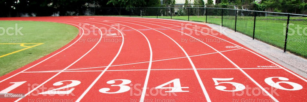 The start-Finish line on a track stock photo