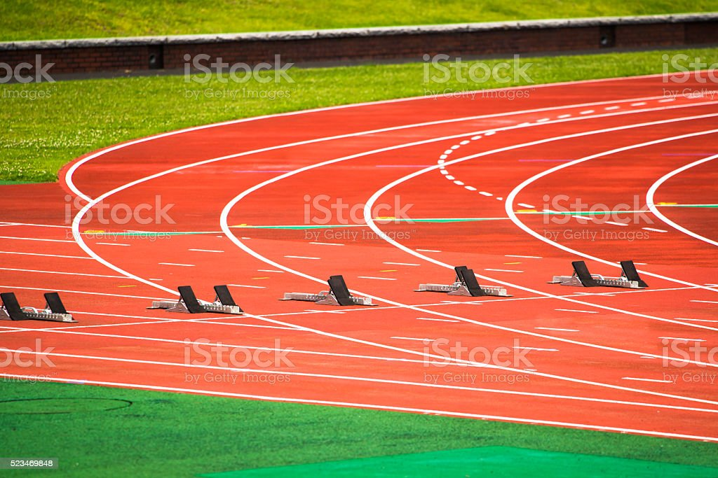 The starting blocks stock photo
