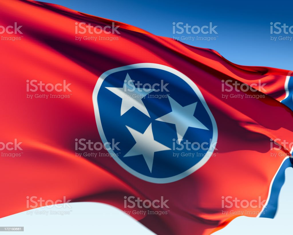 The state flag of Tennessee flapping in the wind stock photo