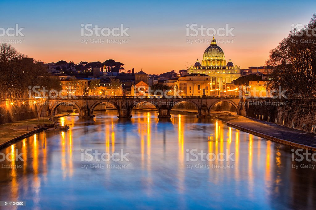 The State of Vatican City at twilight stock photo