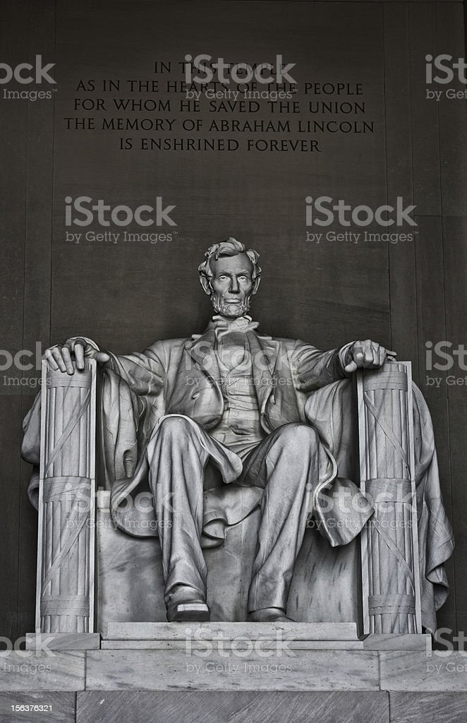 The statue at Lincoln memorial royalty-free stock photo