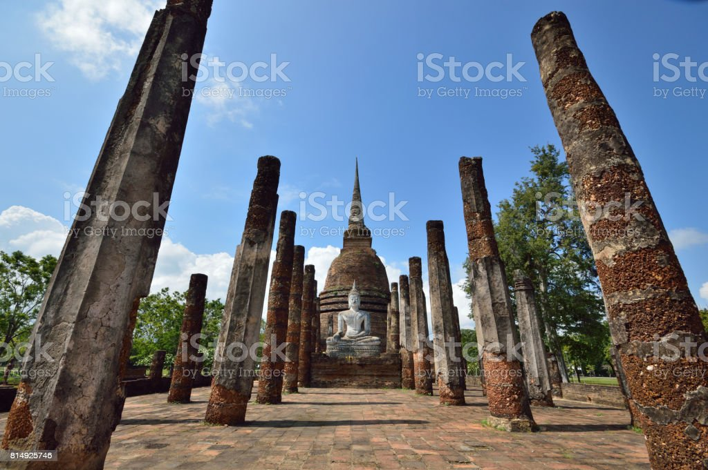 The statue in the ancient temple in Sukhothai Historical Park. stock photo