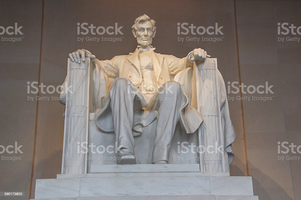 the Statue of Abraham Lincoln at the Lincoln Memorial stock photo