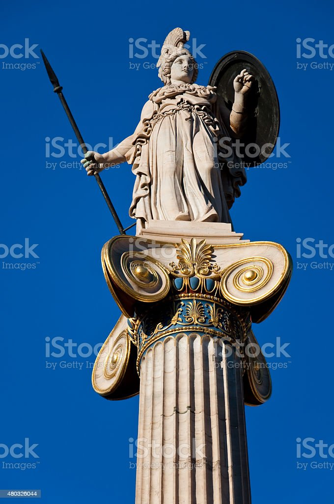 The statue of Athena. Athens, Greece. stock photo