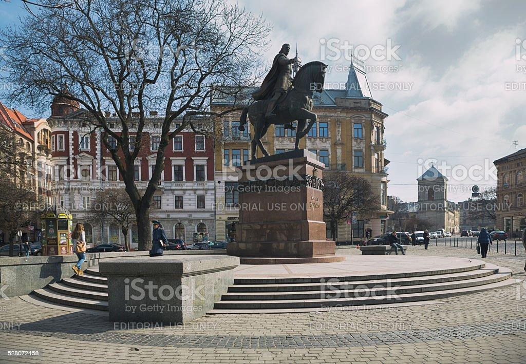 The Statue of Danylo Halytsky, Lviv, Ukraine stock photo