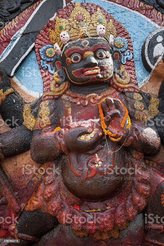 The Statue of Kala Bhairav at Kathmandu Durbar Square. royalty-free stock photo