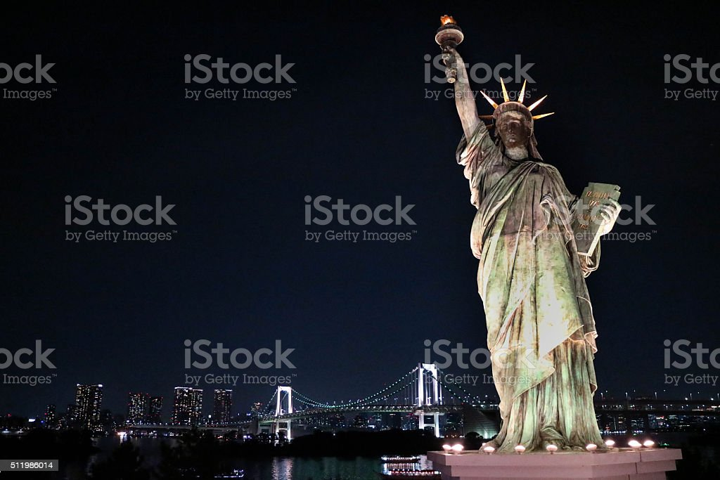 The statue of Liberty at night in Daiba in Tokyo. stock photo
