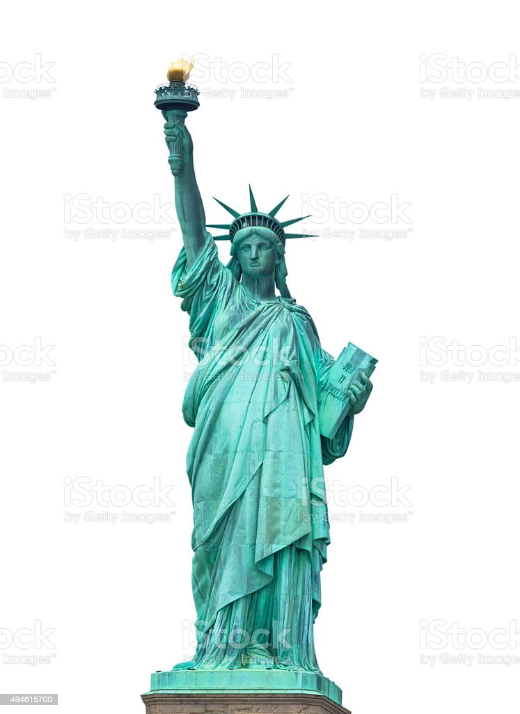 The Statue of Liberty on white background stock photo