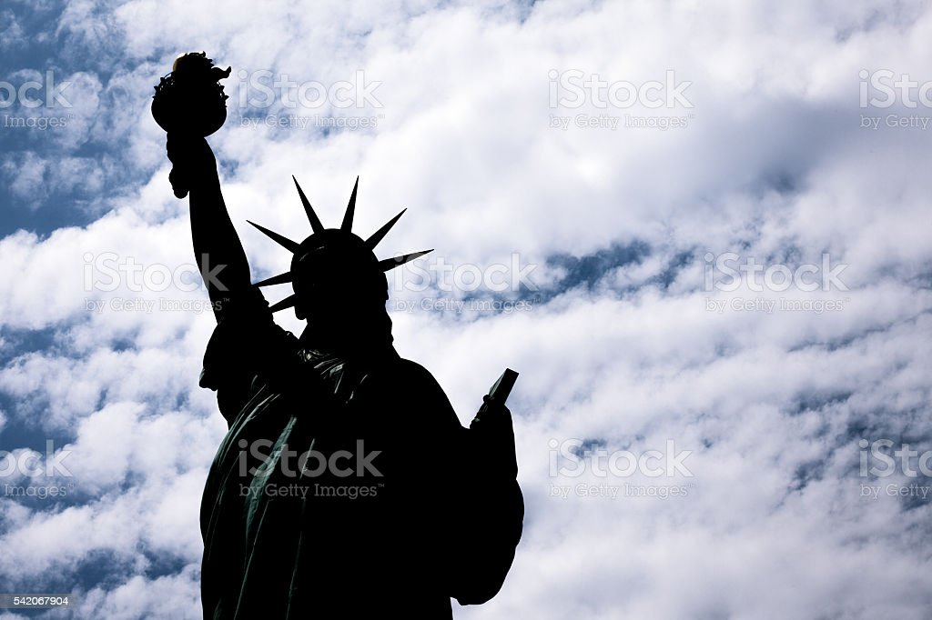 The Statue of Liberty Silhouette stock photo