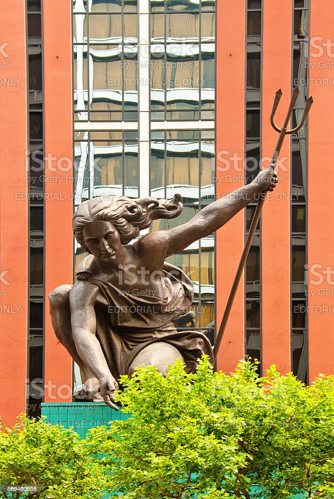 The statue of Portlandia above the entrance of Portland Building stock photo