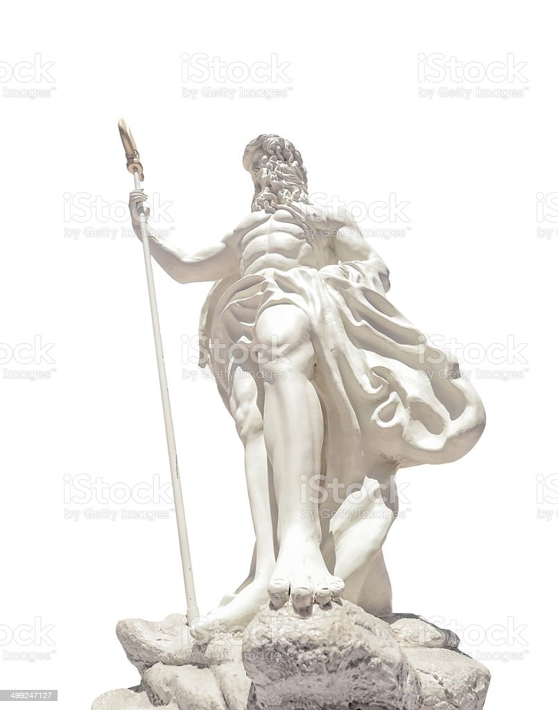 The statue of Poseidonon on isolated white background at venezia royalty-free stock photo