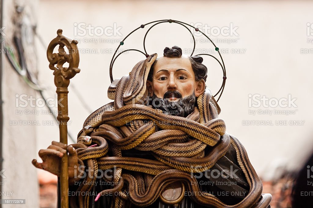 The statue of San Domenico covered by snakes in Cocullo stock photo