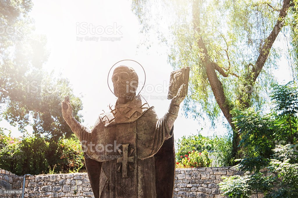 The statue of St. Nicholas in Demre, Turkey stock photo