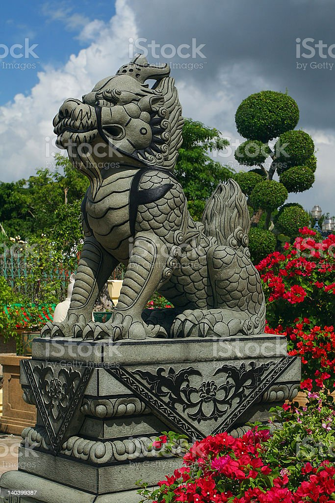 The statue of stone ancient Chinese dragon royalty-free stock photo