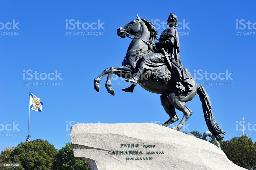 the statue of the bronze horseman in St. Petersburg, Russia stock photo