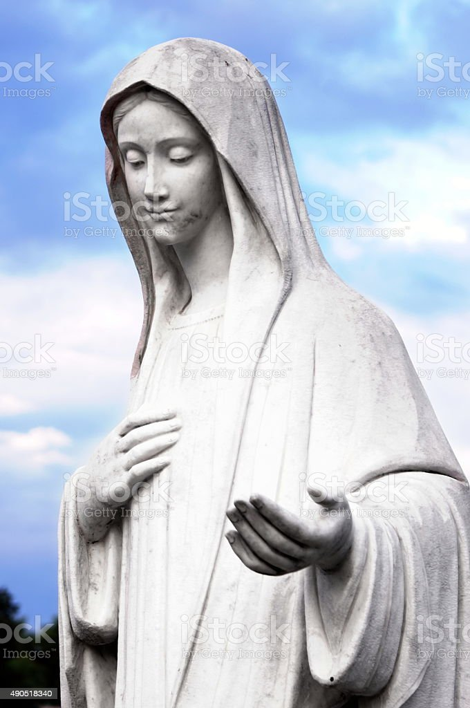 The statue of the Virgin Mary in Medjugorje stock photo