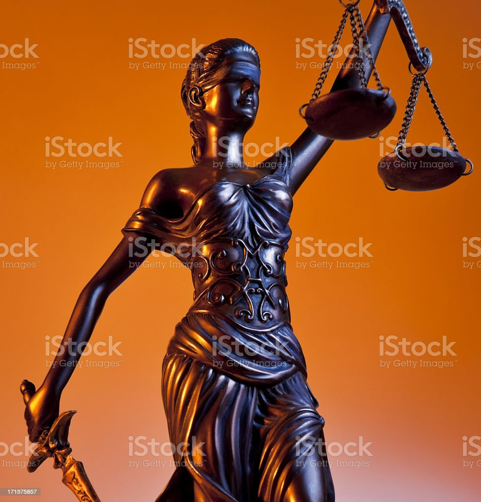 The statue of Themis holding the balance of virtue stock photo