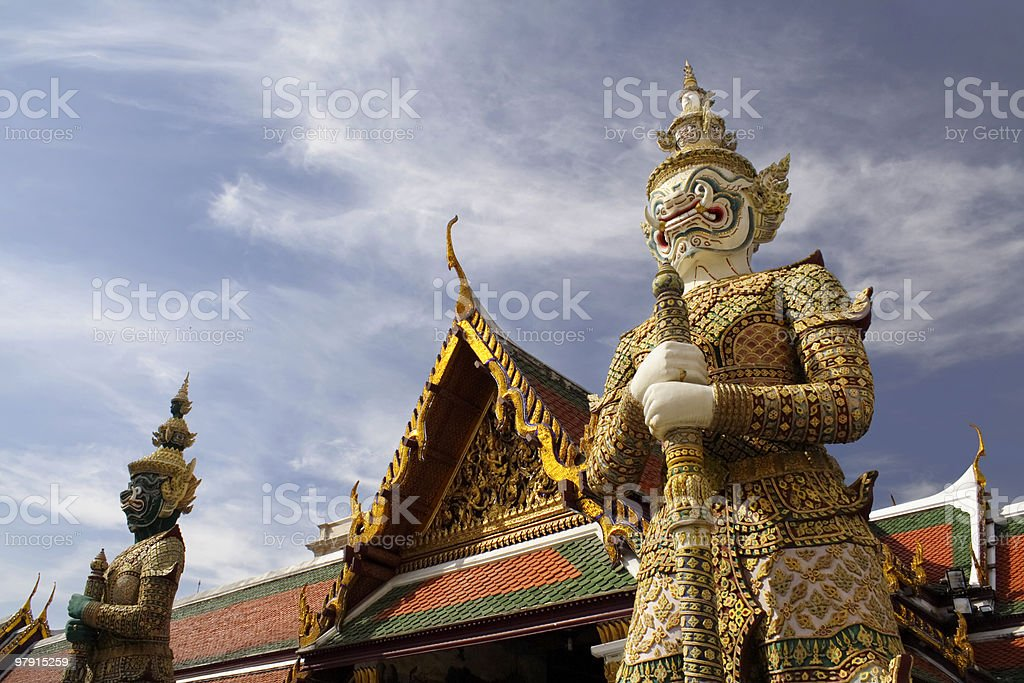 The Statues of Demon-guardians royalty-free stock photo
