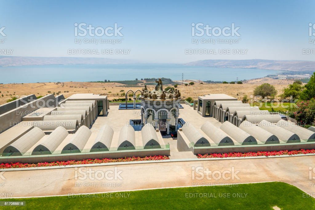 The statues of Jesus and Twelve Apostles, Domus Galilaeae in Israel stock photo
