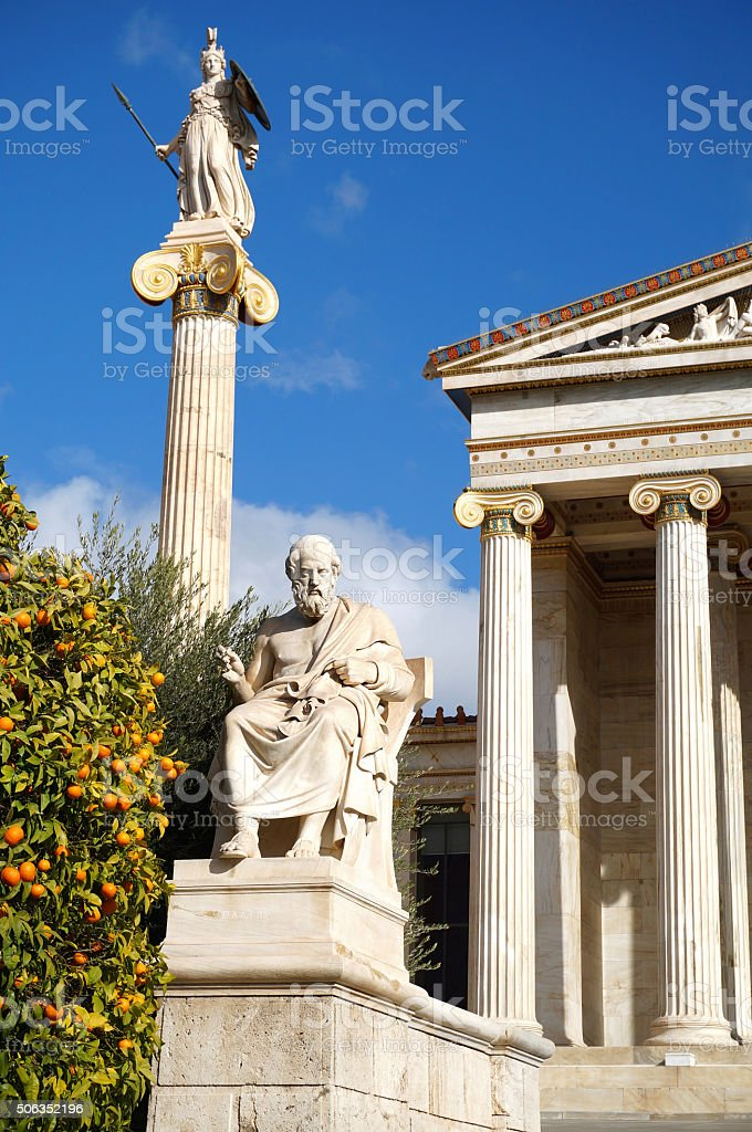 The Statues of Plato and Athena stock photo