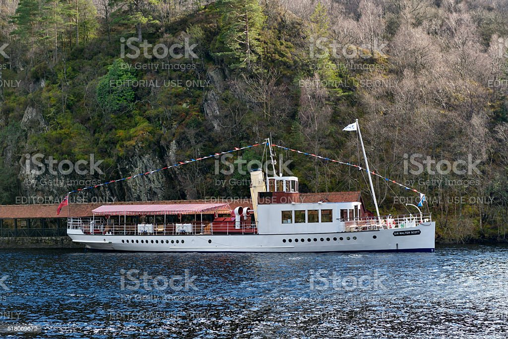 The Steamship Sir Walter Scott on Loch Katrine stock photo