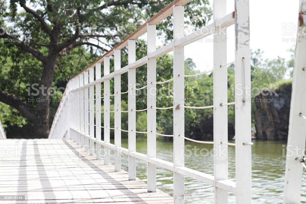 The steel bridge white in garden stock photo