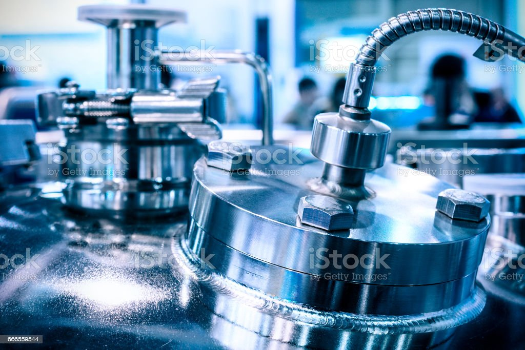 The steel case of a chemical reactor stock photo